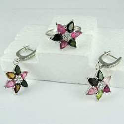 Amazing 925 Sterling Silver Colorful Tourmaline Set