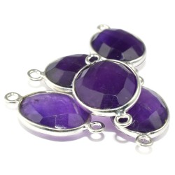 Posh Oval Shape Purple Amethyst 925 Sterling Silver Connectors