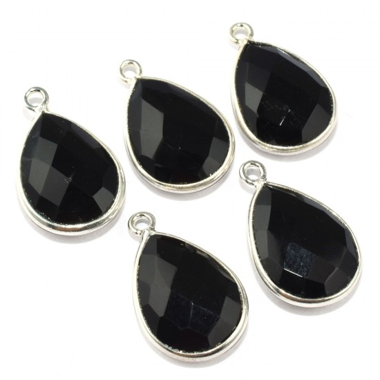 Special Beauty Pear Shape Black Onyx 925 Sterling Silver Connectors