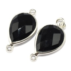 Big Quality Pear Shape Black Onyx 925 Sterling Silver Connectors