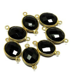 Awesome Jewelry !! Black Onyx Gemstone Silver Jewelry Gold Plated Connectors