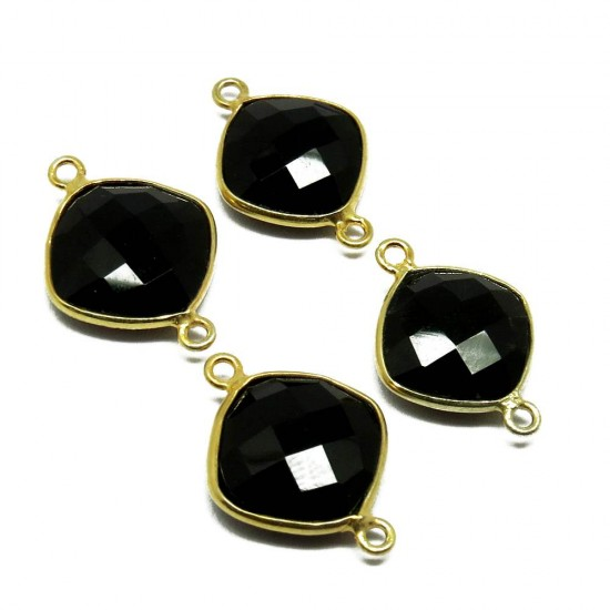 925 Sterling Silver !! Black Onyx Silver Jewelry Connectors