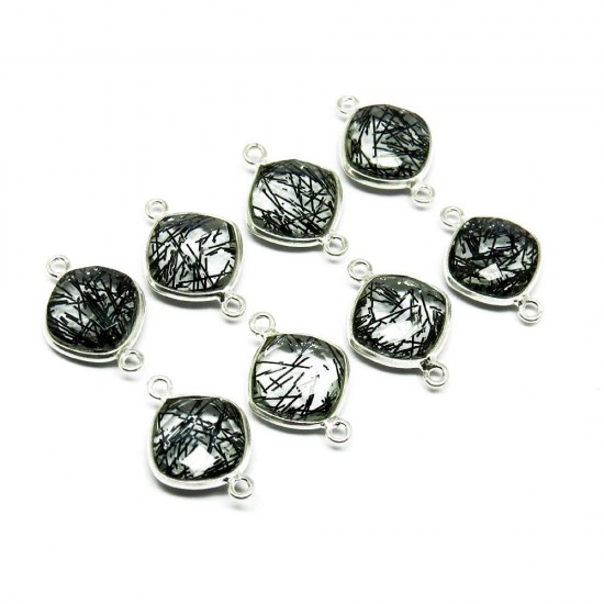 Amazing Silver Jewelry !! Black Rutile 925 Sterling Silver Connectors