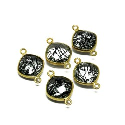 Gold Plated !! Black Rutile Bezel Jewelry Silver Connectors