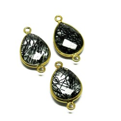Natural Gemstone !! Black Rutile Pear Shape Bezel Jewelry Silver Connectors Gold Plated