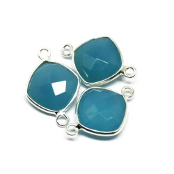 Fashionable Jewelry !! Blue Chalcedony 925 Silver Jewelry Connectors Handmade Silver Jewelry