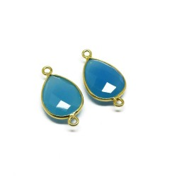 Wholsale Silver Jewelry !! Blue Chalcedony 925 Silver Connectors Silver Jewelry Gold Plated