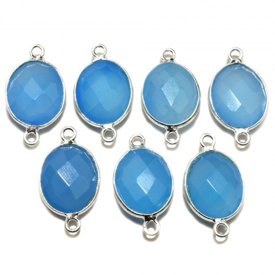 Amusing Oval Shape Blue Chalcedony 925 Sterling Silver Connectors