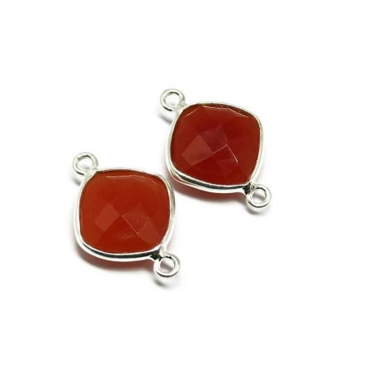 Unique Silver Connectors !! Carnelian Gemstone Silver Jewelry Connectors
