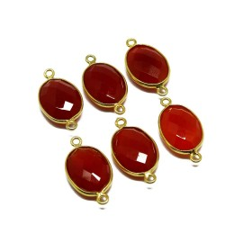 Natural Gemstone !! Carnelian Gemstone Silver Jewelry Gold Plated Connectors