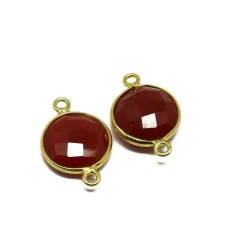 Attractive Silver Connectors !! Carnelian Gemstone Silver Jewelry Gold Plated Connectors