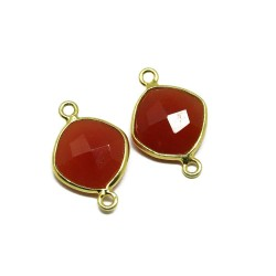 Amazing Color !! Carnelian Silver Jewelry Gold Plated Connectors