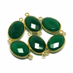Green Color !! Gold Plated Green Onyx Gemstone Jewelry Connectors Silver Jewelry