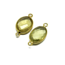 Sterling Silver 925 !! Gold Plated Lemon Topaz 925 Silver Jewelry Connectors
