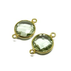 Gold Polish Green Amethyst 925 Silver Jewelry Connectors Silver Jewelry