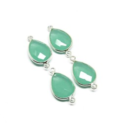 Fantastic Connectors !! Green Chalcedony 925 Silver Jewelry Connectors Silver Jewelry