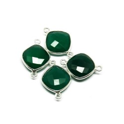 Awesome Silver Connectors !! Green Onyx 925 Silver Jewelry Connectors Gemstone Silver Jewelry
