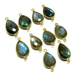 Gemstone Sterling Jewelry !! Handmade Blue Fire Labradorite Silver Jewelry Connectors Gold Plated