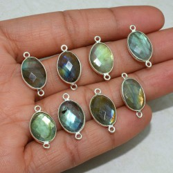 Perfect Beauty Oval Shape Blue Labradorite 925 Sterling Silver Connectors