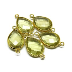 Awesome Connectors !! Lemon Topaz 925 Silver Jewelry Connectors Gold Plated