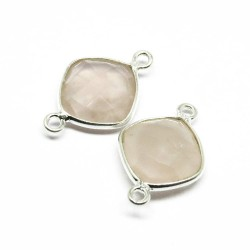 Handmade Silver Jewelry !! Rose Quartz 925 Silver Jewelry Connectors Gemstone Silver Jewelry
