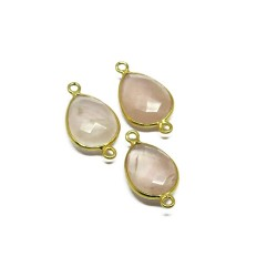 Pink Color !! Rose Quartz 925 Silver Jewelry Connectors Gemstone Silver Jewelry