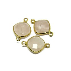 Women Jewelry !! Rose Quartz 925 Silver Jewelry Connectors Gemstone Silver Jewelry Gold Plated