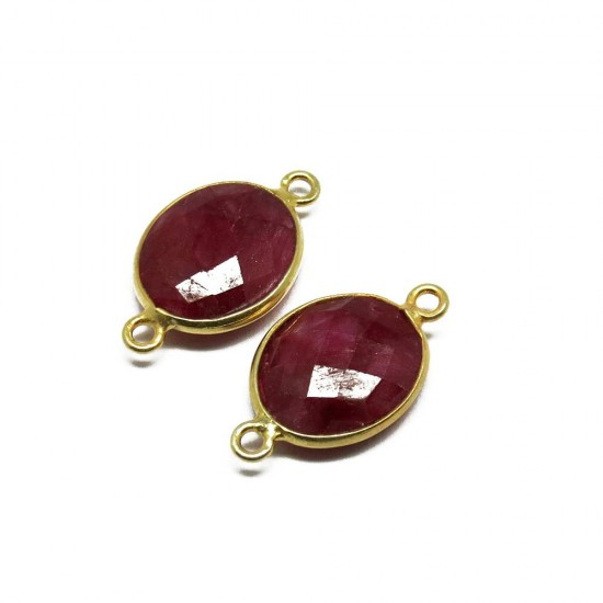 925 Sterling Silver !! Ruby Stone Bezel 925 Silver Jewelry Connectors Silver Jewelry