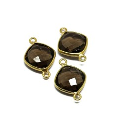 Sterling Silver !! Smoky Quartz 925 Silver Jewelry Connectors Gold Plated
