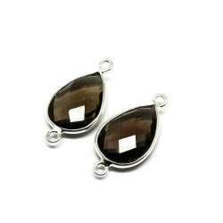 Colored Fashion Jewelry !! Smoky Quartz 925 Silver Jewelry Connectors Handmade Silver Jewelry
