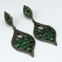 Great Impression !! Emerald, Diamond 925 Sterling Silver Earring