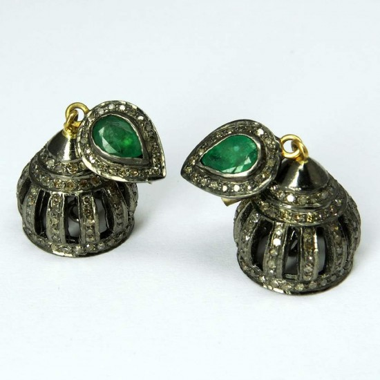 Excellent Jhumka Emerald, Diamond 925 Sterling Silver Earring
