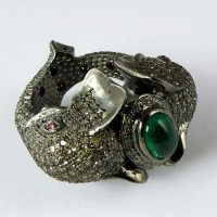 Fantastic Elephant Design !! Emerald, Ruby, Diamond 925 Sterling Silver Ring
