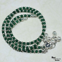 Well Looking  Round Shape Drill Imitation Green Stone 925 Sterling Silver Anklet