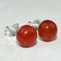 Indian Silver Jewelry !! Orange Carnelian 925 Sterling Silver Earring