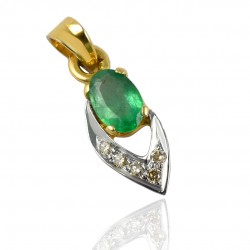14k Carat Gold Pendants Emerald Diamond Gemstone Pendants Women Handcrafted Gold Jewelry