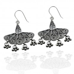 925 Sterling Plain Silver Earring Handmade Oxidized Silver Drop Dangle Ear Wire Earring Jewelry