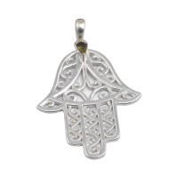925 Sterling Silver Hamsa Pendants Tourmaline Gemstone Pendants Handmade Silver Pendants Jewelry