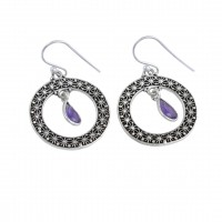 Amethyst Dangle Earring Solid 925 Sterling Silver Oxidized Jewelry Manufacture Silver Earring Jewelry Anniversary Gift