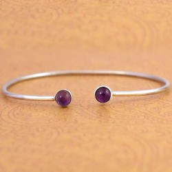 Amethyst Gemstone Cuff Bangle 925 Sterling Silver Handmade Wholesale Silver Bangle Jewellery