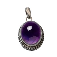 Amethyst Pendant 925 Sterling Silver Oxidized silver Pendant Jewelry Gift For Her