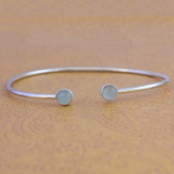 Aqua Chalcedony Gemstone Cuff Bangle Solid 925 Sterling Silver Manufacture Silver Jewelry Exporters