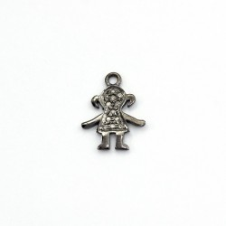 Baby Girl Shape Pave Diamond 925 Sterling Silver Charms Pendants Handmade Manufacture Silver Jewellery Gift For Her