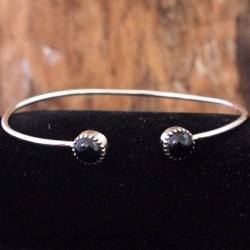 Black Onyx Gemstone Cuff Bangle 925 Sterling Silver Women Bangles Handmade Silver Jewellery