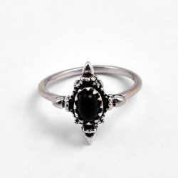 Black Onyx Ring 925 Sterling Silver Boho Ring Birthstone Ring Oxidized Silver Jewelry Gift For Her
