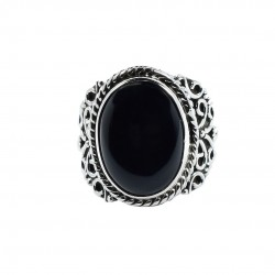 Black Onyx Ring Solid 925 Sterling Silver Handmade Boho Ring Oxidized Silver Ring Jewelry Gift For Her