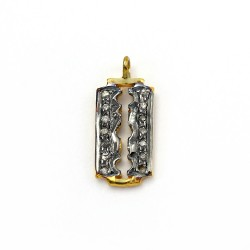 Blade Pave Diamond Gold Plated 925 Sterling Solid Silver Charms Pendants Handmade Jewellery