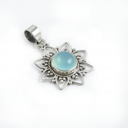 Blue Chalcedony Gemstone Pendants 925 Sterling Silver Pendants Oxidized Silver Jewellery Gift For Her