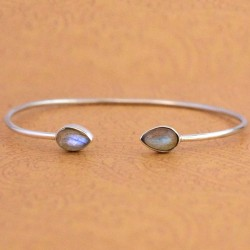 Blue Fire Labradorite Gemstone Cuff Bangle 925 Sterling Silver Women Bangle Handmade Silver Jewelry