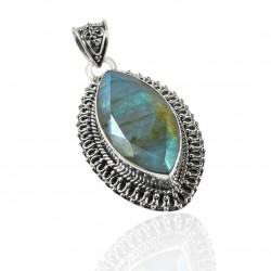 Blue Fire Labradorite Gemstone Pendant Solid 925 Sterling Silver Marquise Shape Handcrafted Silver Fine Jewelry